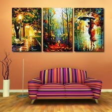 Unframed 3 Panel Home Decor Painting Abstract Street Light Tree Walk Pictures