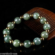 100% Natural A Grade Jade (jadeite) 12mm Round Bead 18K Gold 4mm Beads Bracelet