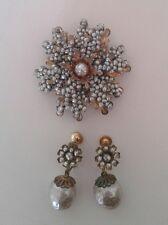 Miriam Haskell Teeny Grey Seed Pearl Flower Brooch Pin w Earrings Drop