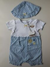 BABY GIRL SUMMER ROMPER PLAYSUIT + MATCHING HAT SIZE 000 FITS 0-3M *NEW *GIFT