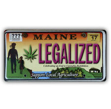 CS007D - LEGALIZED Maine Marijuana Weed Cannabis License Plate Sticker