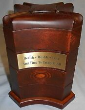 GREAT DESIGN! 2003 Bombay Company FOUR DRAWER Swivel WOOD Jewelry Box - Engraved