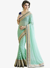 india tell me Designer Half Half Saree of Pista color and Beautiful Lace Wor