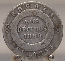 1866 Bogota Columbia Silver 2 Cents, World Coin, 2 year type
