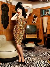 Deadly Dames Tiger Vamp Dress Pinup Couture Rockabilly Punk Retro Psychobilly M