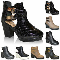 Womens Ladies New Chelsea Cut Out Block Mid Heel Biker Ankle Boots Shoes Size UK