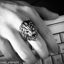 Hot Retro Women Mens Punk Biker 316L Stainless Steel Black Silver Lion Head Ring