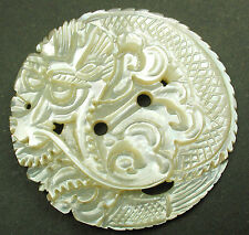 Lg Sz Carved Shell Pearl Button Sew Thru Detailed Dragon Stunning!  1 & 3/8 inch