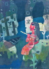 SOUTH ASIAN MID CENTURY FIGURE PAINTING MYTHOLOGICAL QUEEN PROGRESSIVE GROUP