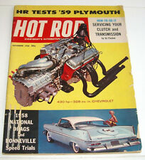 Hot Rod Magazine, 430 hp - 328 cu. in Chevrolet, HR Tests '59 Plymouth, Nov 1958