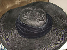 BN BLACK WIDE-BRIMMED STRAW HAT VELVET BY JOSEPHINE ELLEN HATS IN EXCEL COND