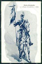 Militari Dragoni Piemonte Nizza Cavalleria I Reggimento PIEGHE cartolina QT7937