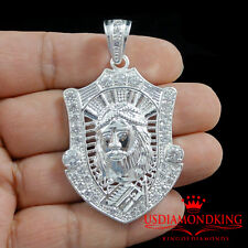 14K WHITE GOLD FINISH SOLID STERLING SILVER LAB DIAMOND JESUS FACE CHARM PENDANT
