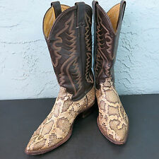Justin Mens 8621 Python Distressed Snakeskin Leather Western Cowboy Boots 9D