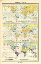 1952 MAP ~ BOLA DEL MUNDO LLUVIA & WINDS ~ ENERO & JULIO MEAN ANUAL