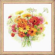 RIOLIS COUNTED CROSS STITCH Watercolour Gerberas Flowers Embroidery Needlework