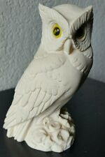 Vintage White Alabaster Horned Owl Figurine By A. Gionnelli Made in Italy 5""