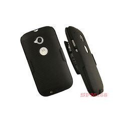 BLACK HARD CASE BELT CLIP HOLSTER STAND FOR MOTOROLA MOTO E 1ST GEN