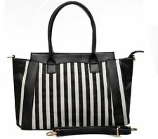 Stylish Handbag Ladies Womens Stripe Fashion Celebrity Bag Designer Look Handbag