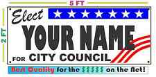 CITY COUNCIL ELECTION Banner Sign w/ Custom Name NEW LARGER SIZE Campaign