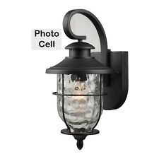Matte Black Outdoor Patio/Porch Exterior With Photo Cell Light Fixture : 21-2199