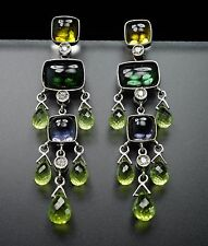 18K White Gold Diamond Green Tourmaline Peridot Briolette Chandelier Earrings