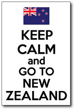 KEEP CALM AND GO TO NEW ZEALAND - Kiwi / Maori / Fun  Vinyl Sticker 15cm x 22 cm