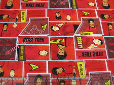 1 Yard Quilt Cotton Fabric- Camelot Original Star Trek Universe Patch Red