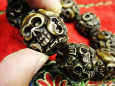 Cool Man's huge Skull head Bead Heavy tibet Bracelet 42g 20cm