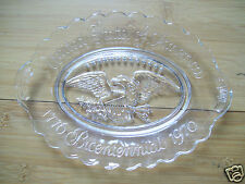 """Rare 1776 Bicentennial 1976 United States Of America Eagle 9"""" Glass Crystal Dish"""