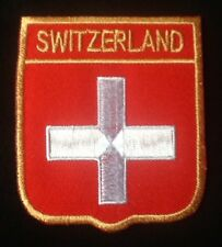 SWITZERLAND SWISS NATIONAL COUNTRY FLAG BADGE IRON SEW ON PATCH CREST SHIELD