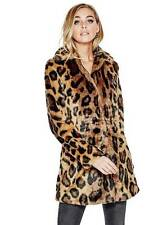 DIVA GLAM! GUESS Abigal Leopard Faux Fur Jacket Animal Print Abigail Coat MEDIUM