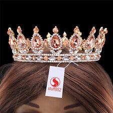 Baroque Crystal Queen Crown Tiara Silver Luxury Champagne Full Gold Hair
