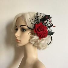 Hot Fascinator Red Rose Flower Feather Dots Hair Clips Bridal Headwear