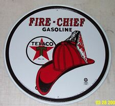 Nostalgic TEXACO Fire Chief Gasoline Motor Oil Gas Station Tin Sign