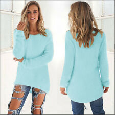 New Womens V Neck Knitted Sweater Loose Long Sleeve Casual Jumper Tops Outwear