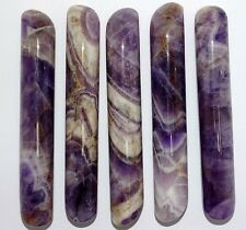 "XLG. 5.1""  X 0.85""   CHEVRON BANDED AMETHYST ROUNDED  WAND (1 PC.)"