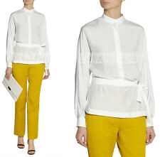 $1,153 GUCCI TOP  BELTED SILK SATIN SHIRT LILIUM WHITE  sz IT 44 US 8