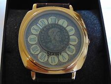 """Stauer 41mm """"Real Roman Coin"""" 18K Gold Fused Stainless Steel Quartz Watch L@@K!!"""