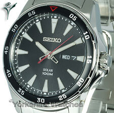 Mens SEIKO SOLAR SPORTS BLACK DIAL With STAINLESS STEEL BRACELET SNE393P1