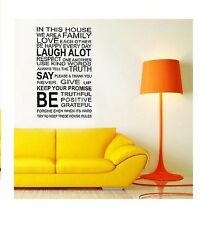 Family House Rules Love Wall Quote Decal Stickers Art Mural Vinyl Decor Paper