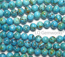 Blue Green KINGMAN TURQUOISE Round Beads-10mm-7.5in