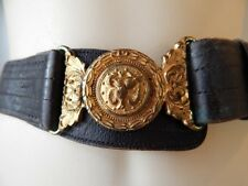 Antique c 1900s Victorian Black Leather Belt Navy Brass Buckle Military Post War