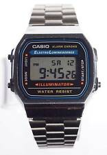Nice Black & Stainless Steel CASIO ILUMINATOR  Dual Time  Alarm Chrono A168 1572