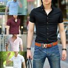 HOT Mens Luxury Short Sleeves Casual Slim fit Stylish Dress Shirt 5Colors 4Size