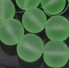 25 Frosted Sap Green Sea Glass Round Beads 8mm