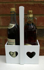 Wooden Wine Carrier 2 Bottle White Heart French Style Shabby Vintage Chic Handle
