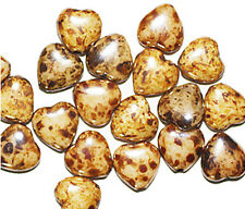 Brown Beige Picasso Heart Czech Pressed Glass Beads 10mm (pack of 20)