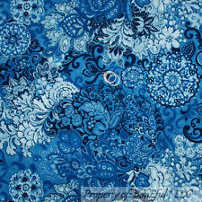 BonEful Fabric FQ Cotton Quilt Blue Navy Denim Lace L Swirl Flower Toile Paisley