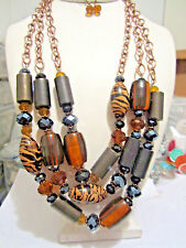 Multi Brown And Black Lucite Bead Copper Tone Link Chunky Necklace Earring Set